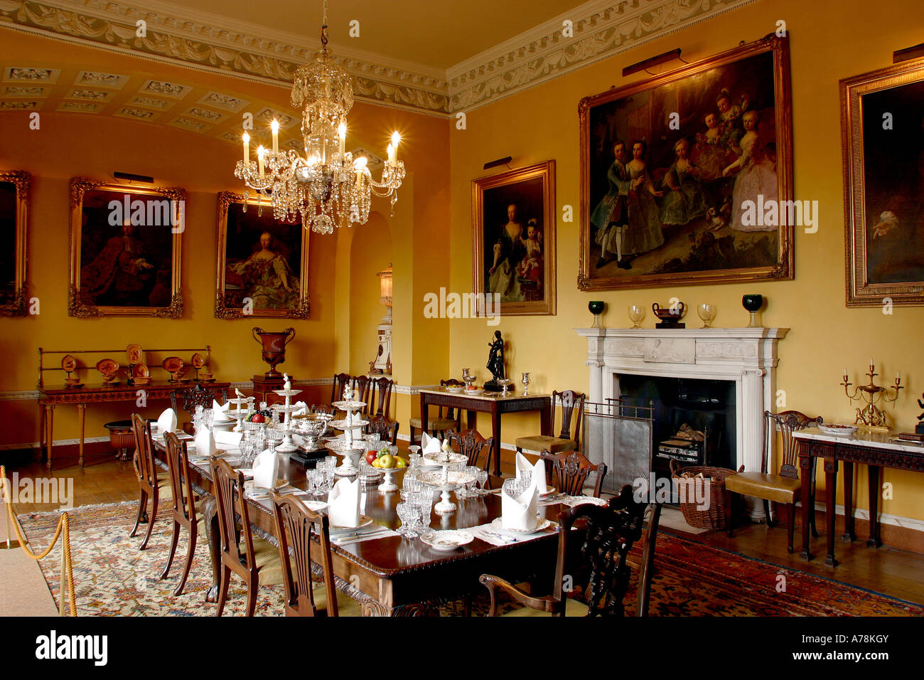 Uk yorkshire ripon newby hall regency dining room stock for Regency dining room