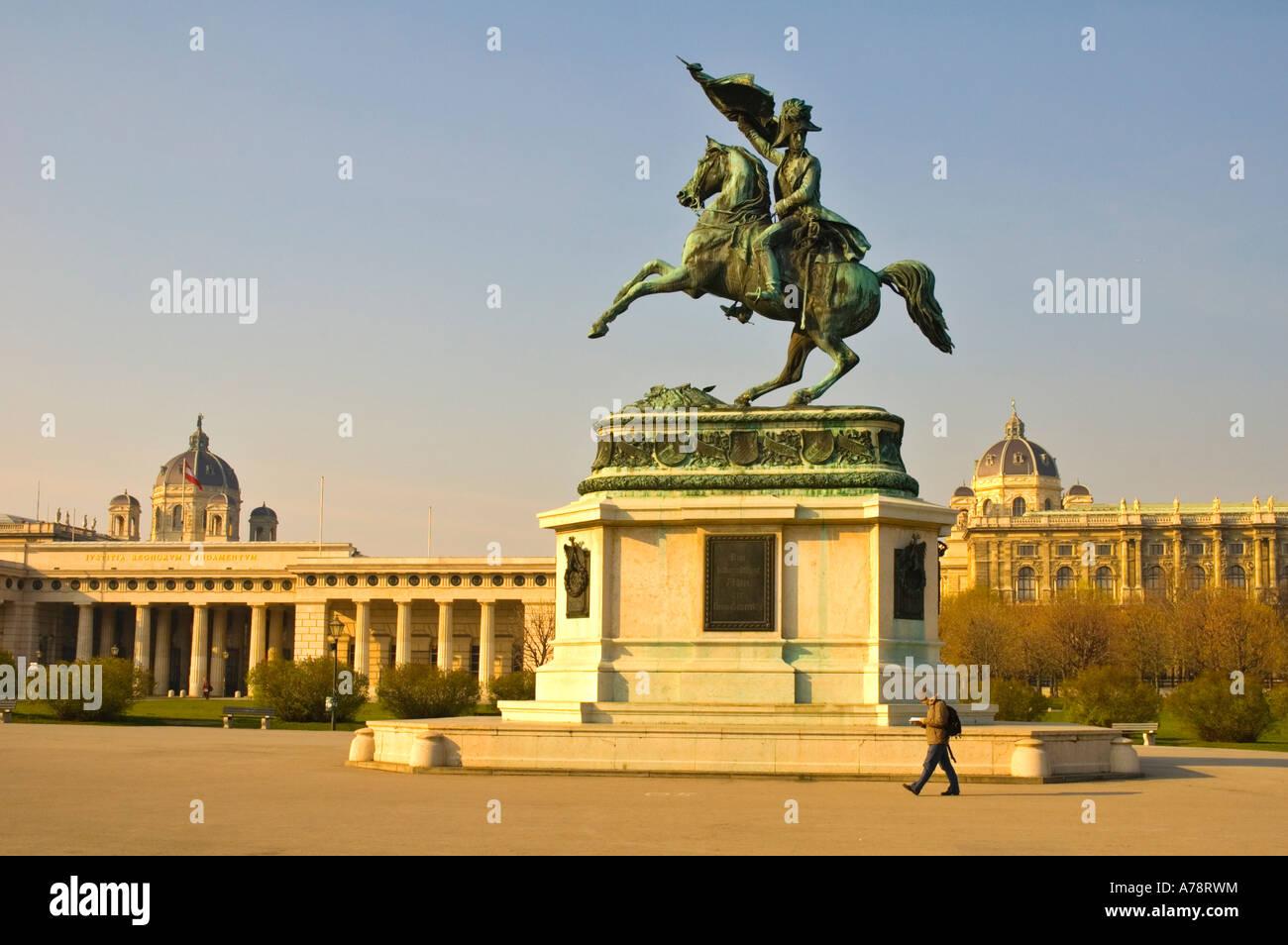 Statue of archduke Karl in Heldenplatz in central Vienna Austria EU - Stock Image