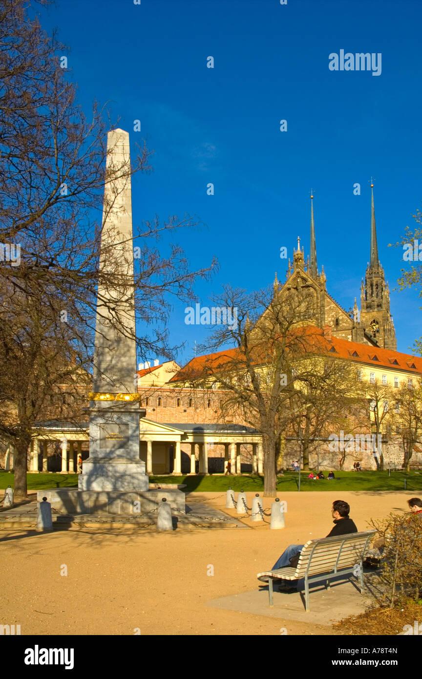 Denisovy sady park upon Petrov hill with obelisk in central Brno Moravia Czech Republic EU - Stock Image
