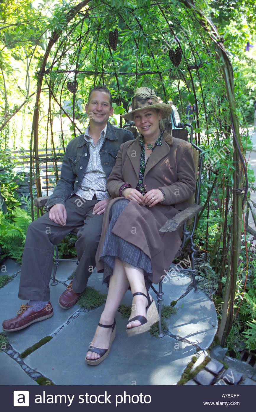 kim wilde and richard lucas sitting in a willow gazebo in their cumbrian fellside garden at - Wilde Garden