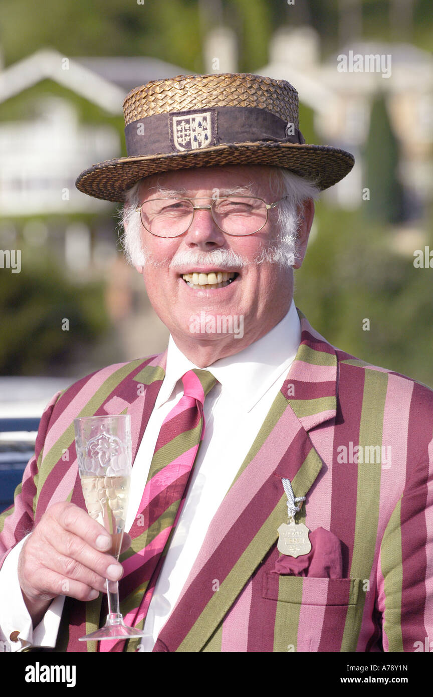 Character at Henley Royal Regatta preserving the de Rigeur  of  HRR in Edwardian clothes Henley on Thames, Oxon, - Stock Image