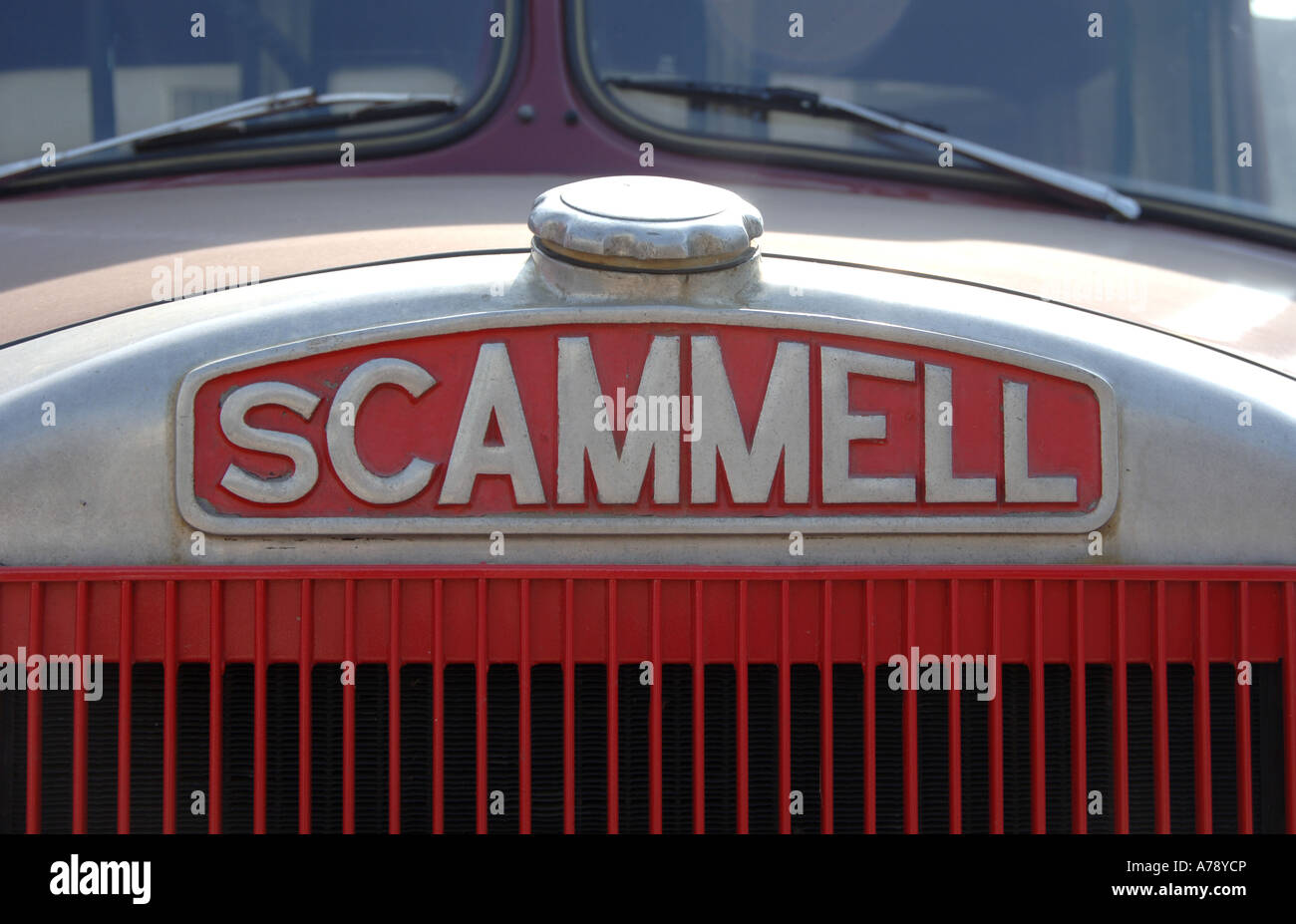 Scammell truck name badge Stock Photo