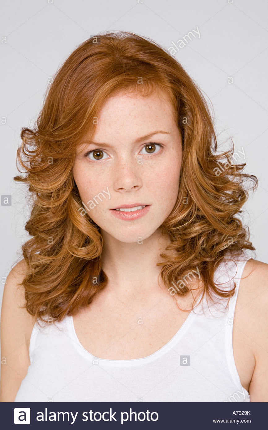 Young ginger haired woman - Stock Image