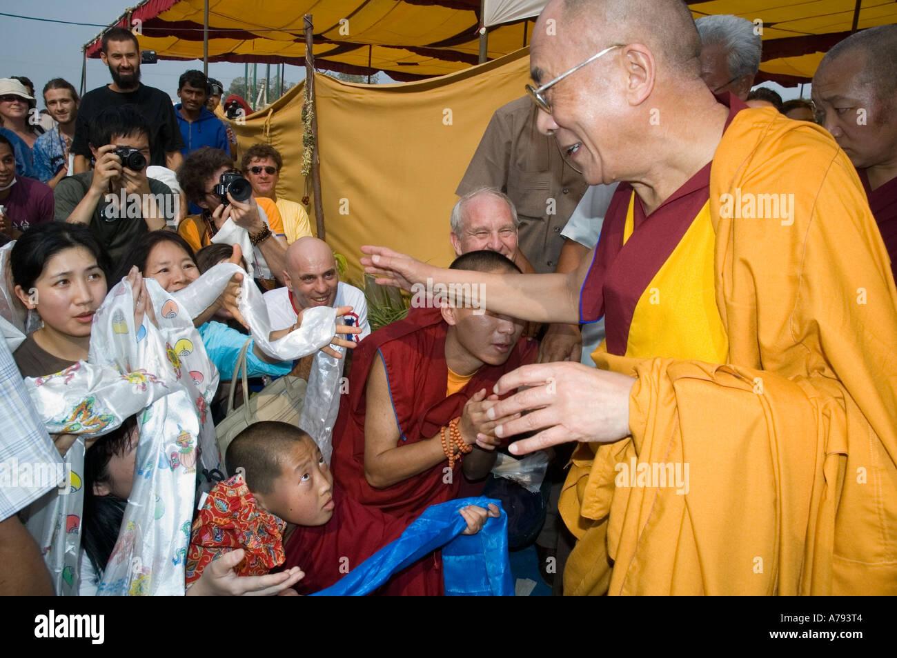 Dalai Lama meets westerners Kalachakra ceremony Amaravati India - Stock Image