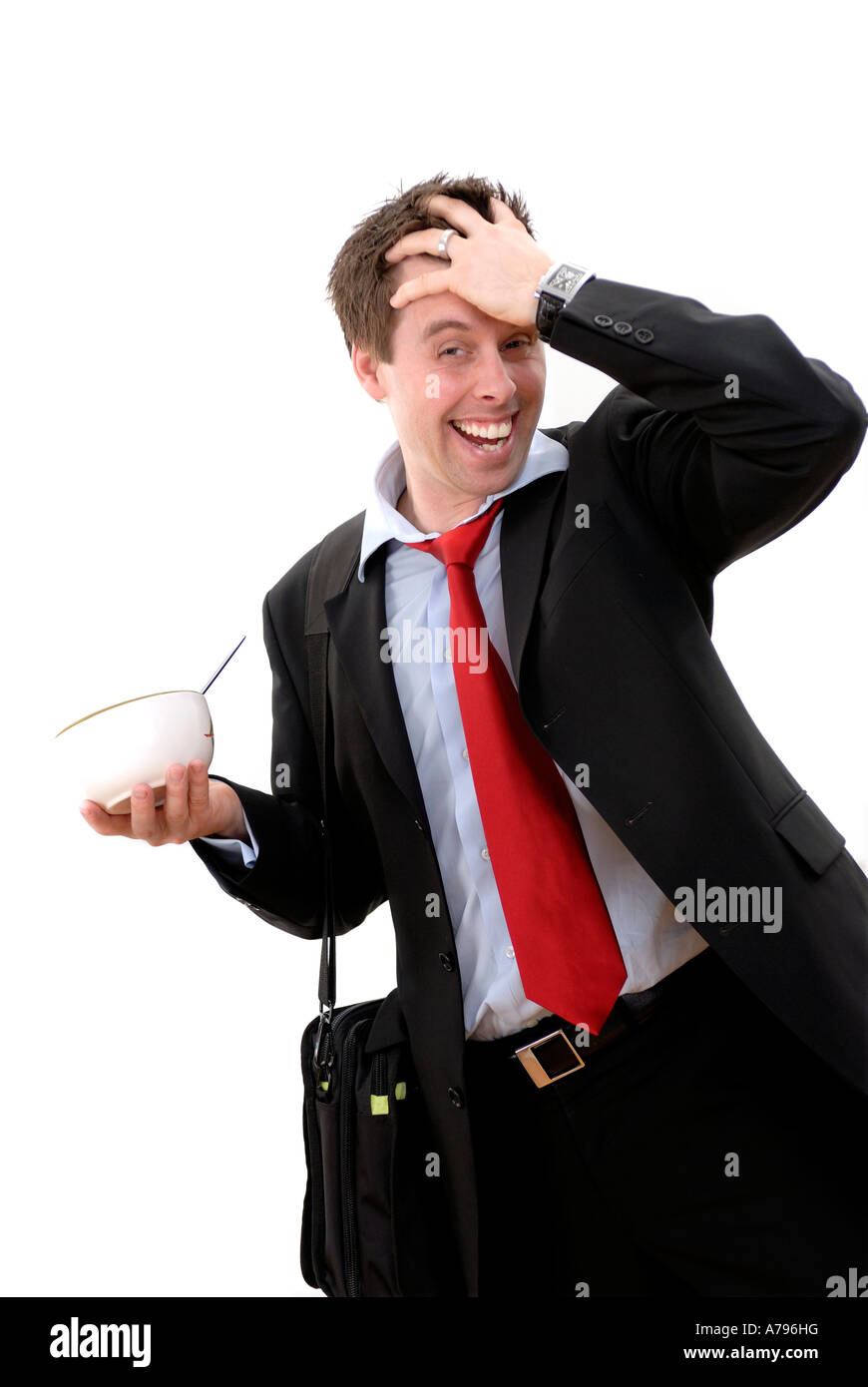 stressed businessman late - Stock Image