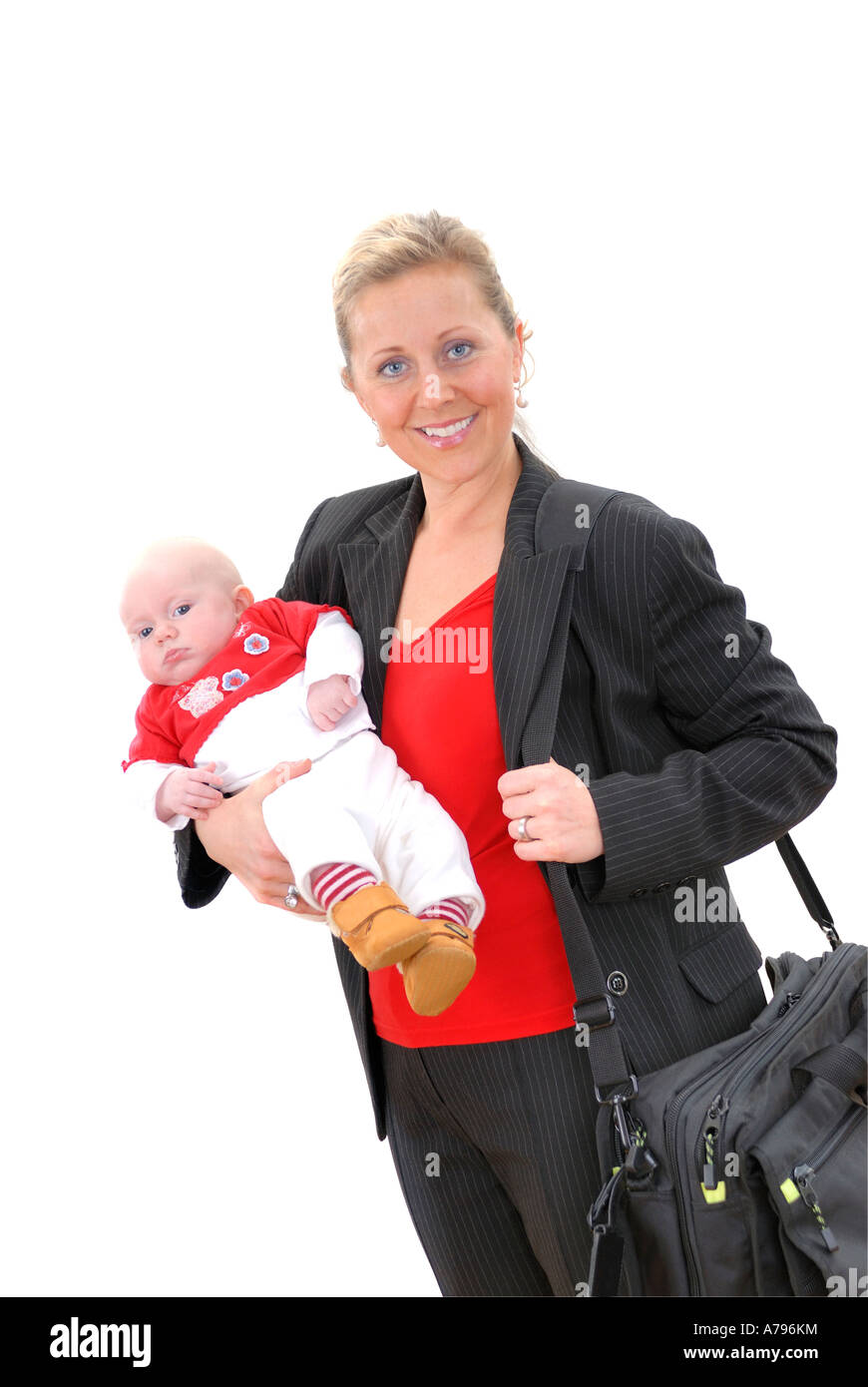 young business woman with small child baby - Stock Image