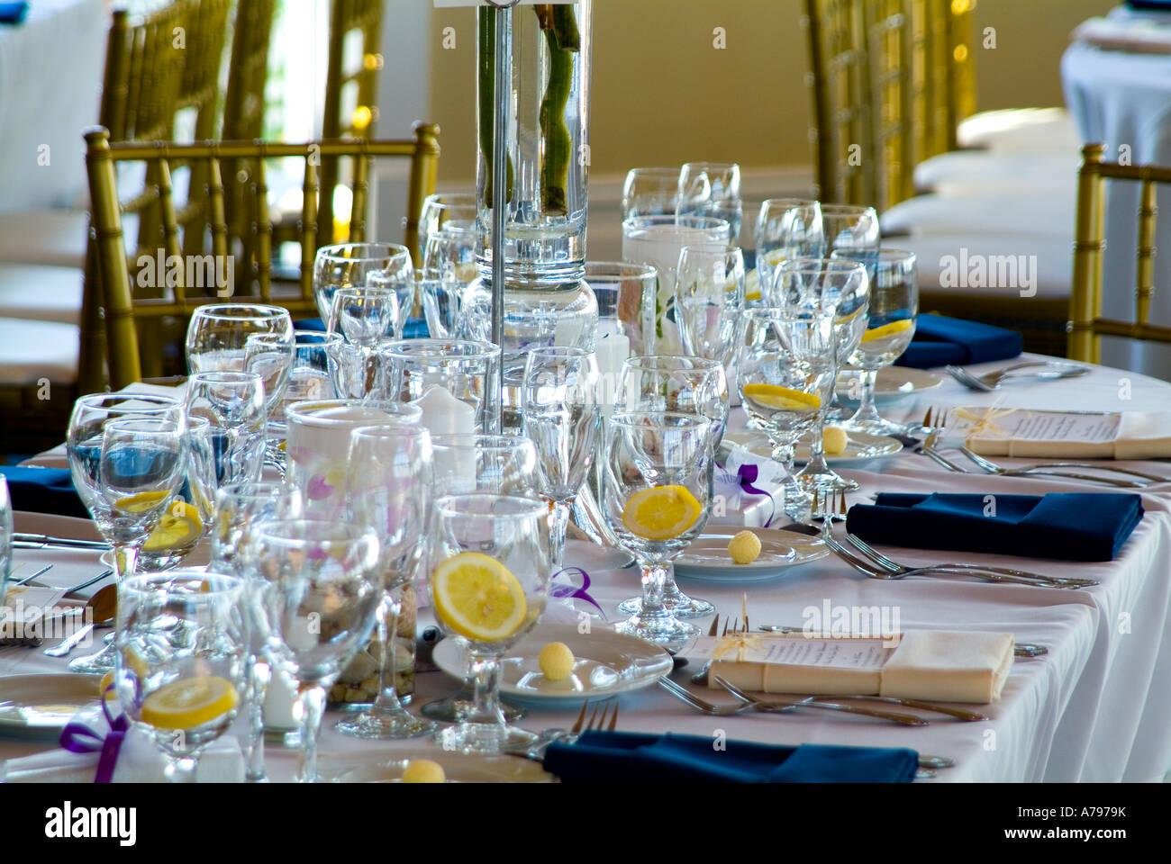 Elegant Table Settings At Wedding Banquet Reception, Philadelphia ...