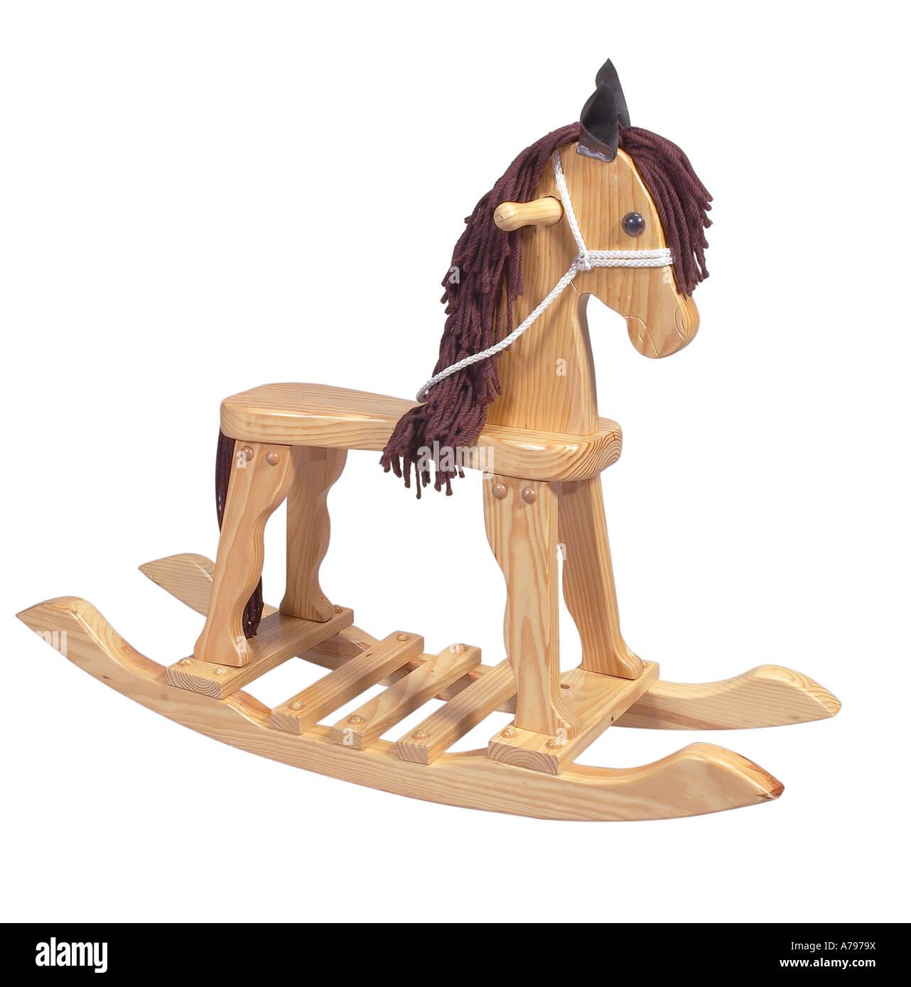 Wooden Rocking Horse Studio Still Life White Background - Stock Image
