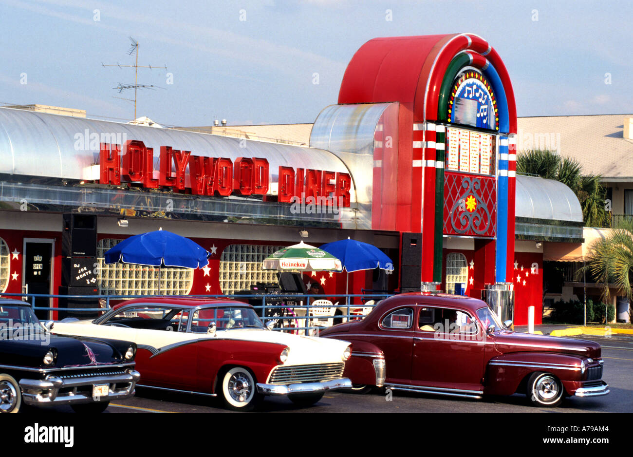 Classic Car Hollywood Diner Orlando Florida Old Timers Stock Photo