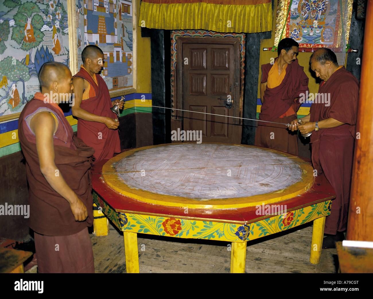 Monks making mandala Hemis Monastery Ladakh India - Stock Image