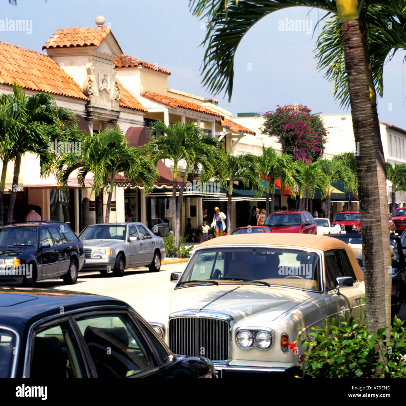 Florida fashion shops classy Palm Beach Rolls Royce Worth Avenue Stock Photo