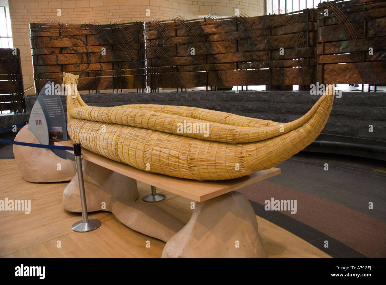 Washington DC National Museum Of The American Indian Reed Canoe In Lobby