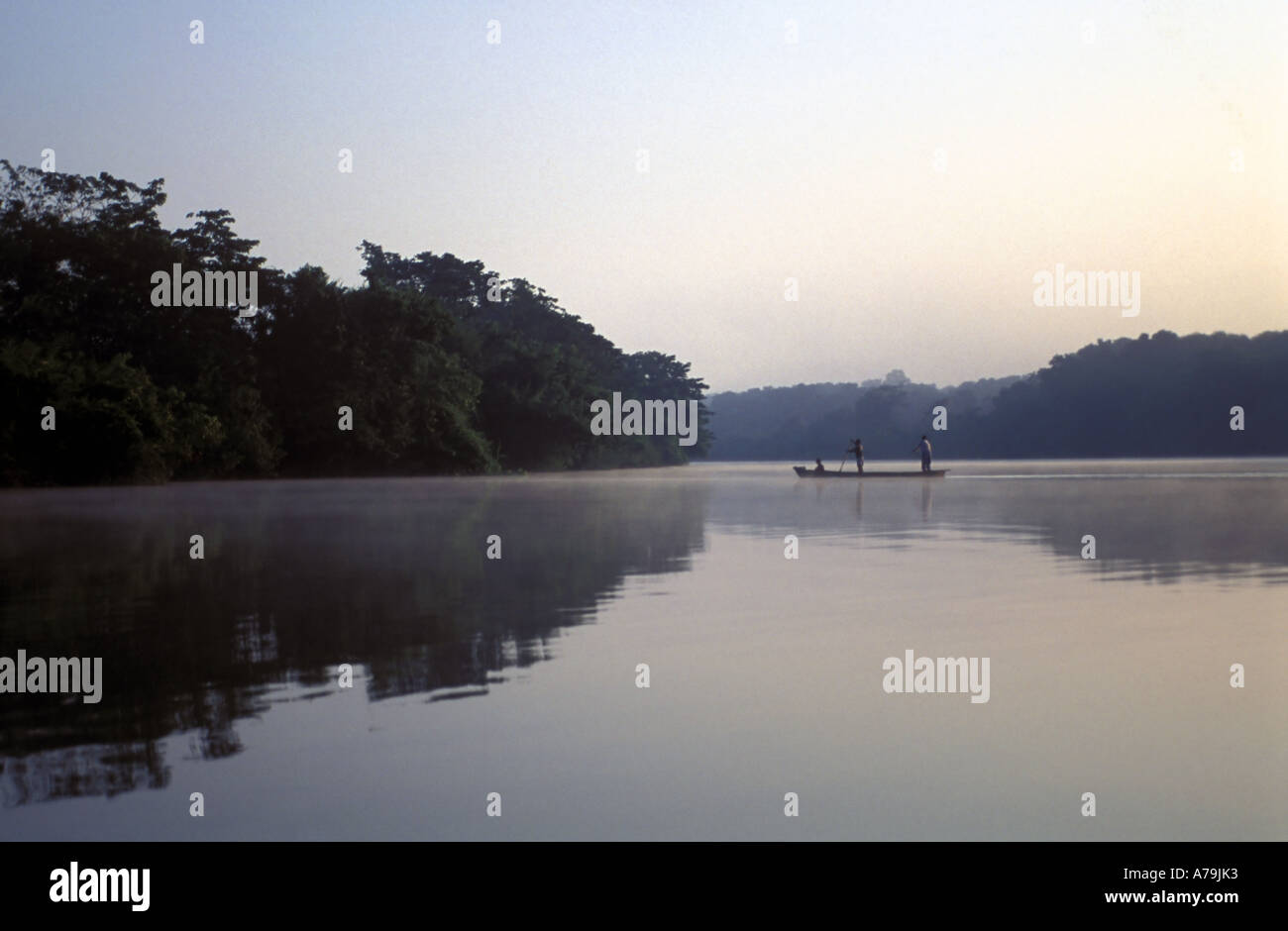 Dawn on the Passion River Guatemala with sepia tones produced from the smoke of burning rainforests - Stock Image