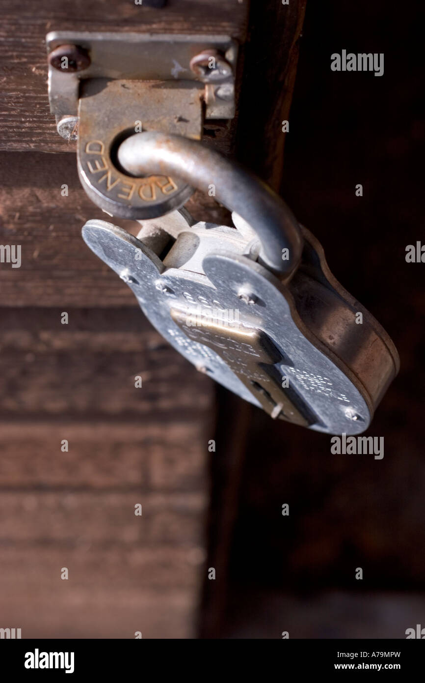 squire padlock on garden shed - Stock Image