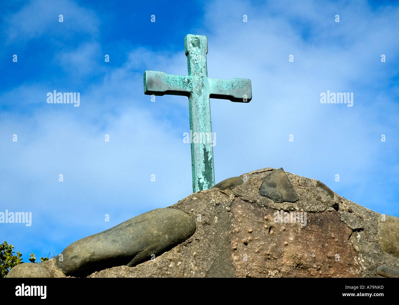 Cross on top of St Trillos Church Rhos On Sea North Wales UK - Stock Image