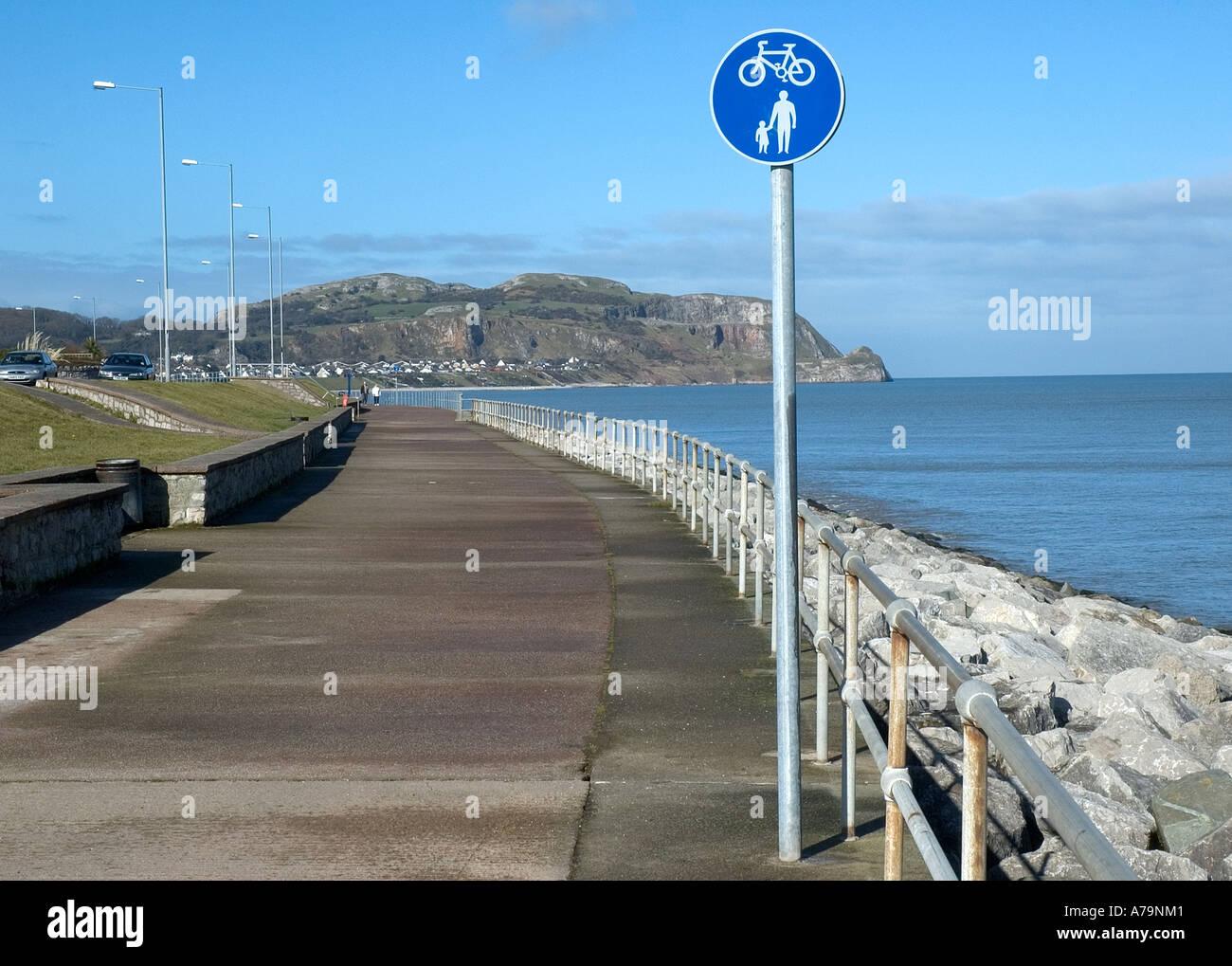 Cycle path,Rhos on sea promenade,Colwyn Bay,North Wales - Stock Image