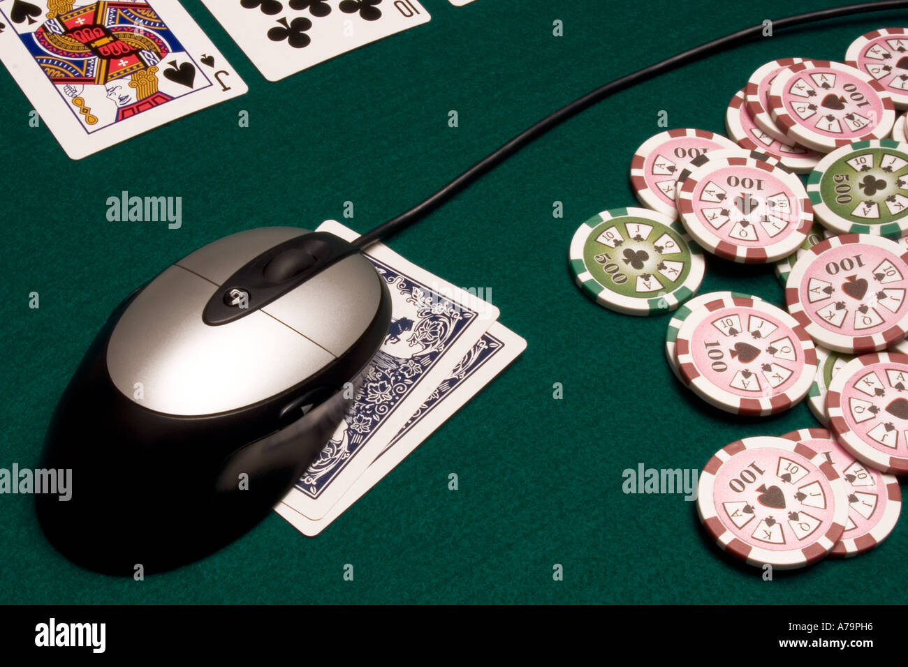 Mouse on playing cards - Stock Image