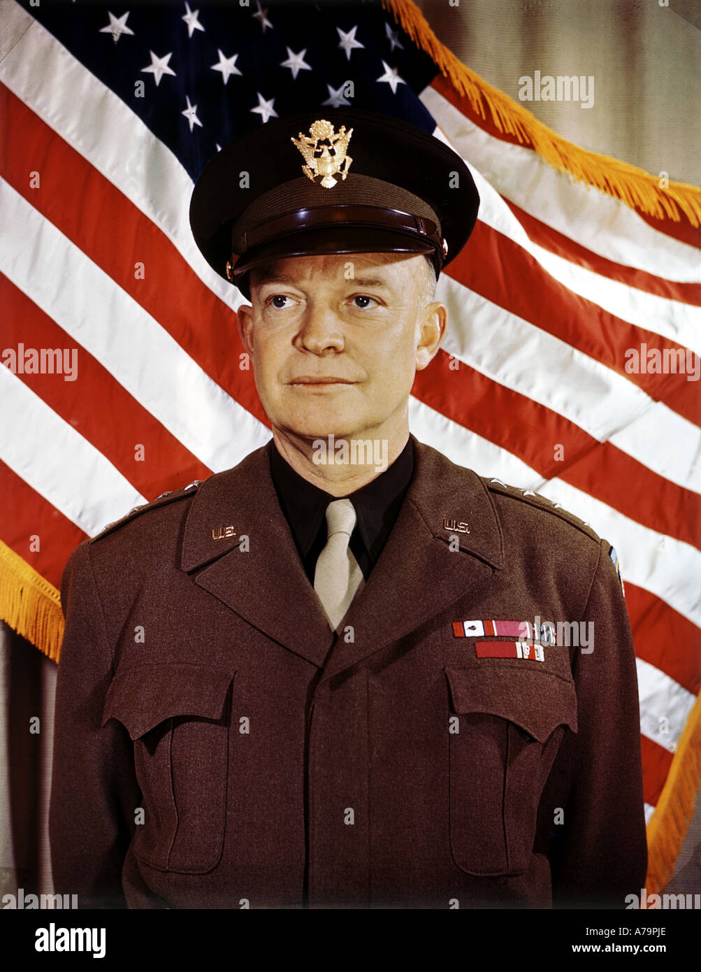 DWIGHT EISENHOWER US soldier and statesman here as Commander in Chief Allied Forces in 1944 - Stock Image