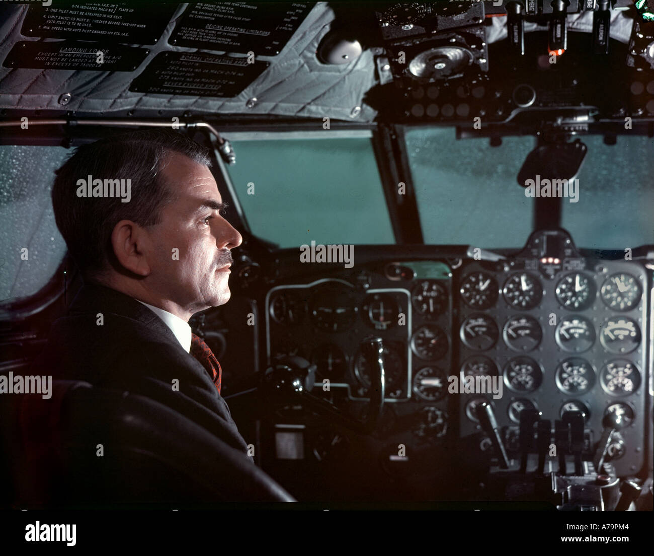 SIR FRANK WHITTLE British inventor of the jet engine 1907 to 1996 in the cockpit of a Comet jet aircraft - Stock Image