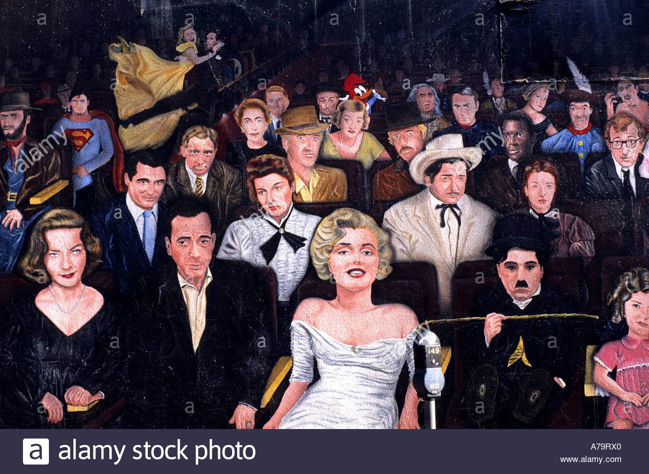 Star Wall Painting Hollywood Los Angeles Charles Chaplin Marilyn Monroe  movie stars - Stock Image