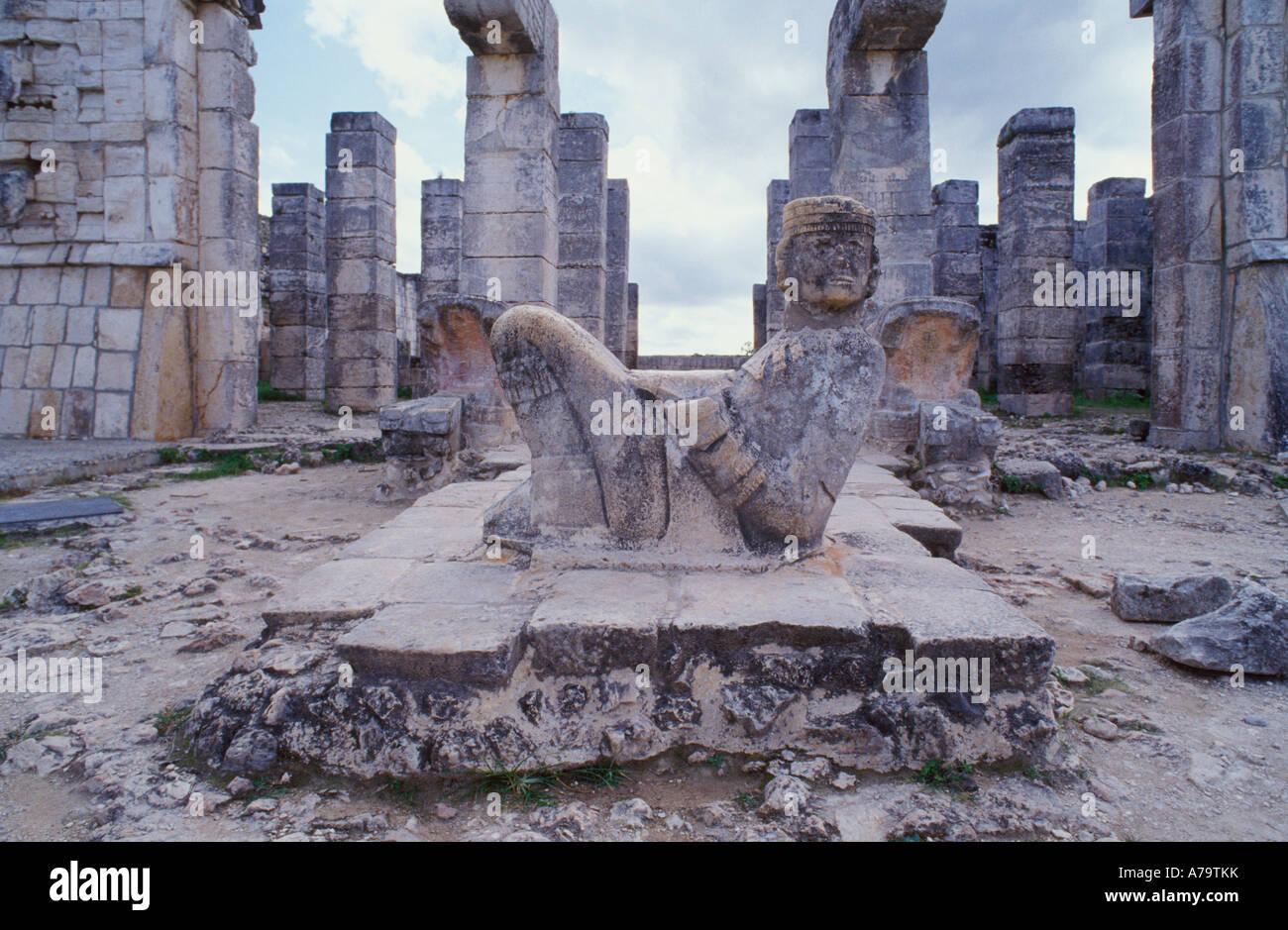 The Chac Mol a powerful symbol of the Mayan civilization. Maya Ruins at Chichen Itza, Mexico - Stock Image