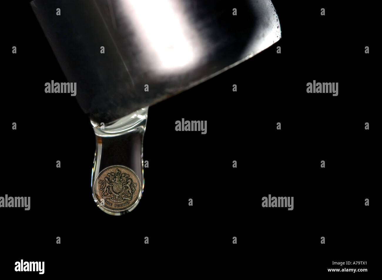concept money dripping from leaking tap faucet cash flow Stock Photo ...
