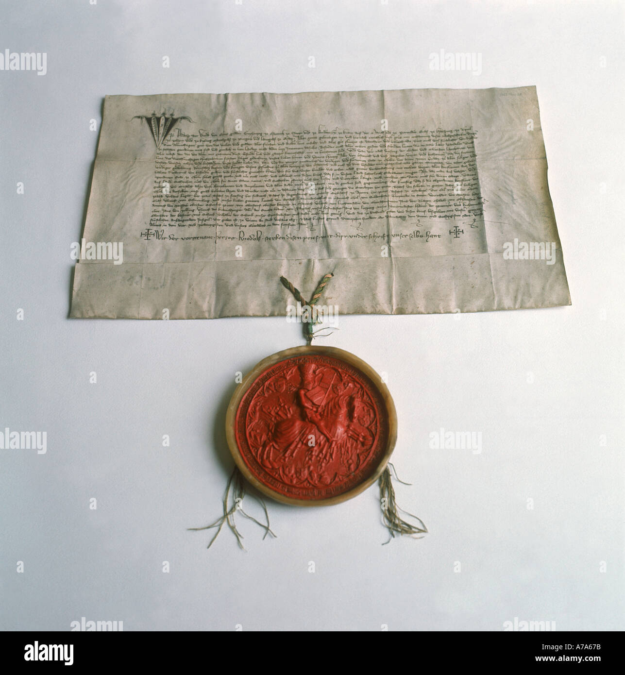 document with seal at cologne historical archive city of cologne county of westphalia germany - Stock Image