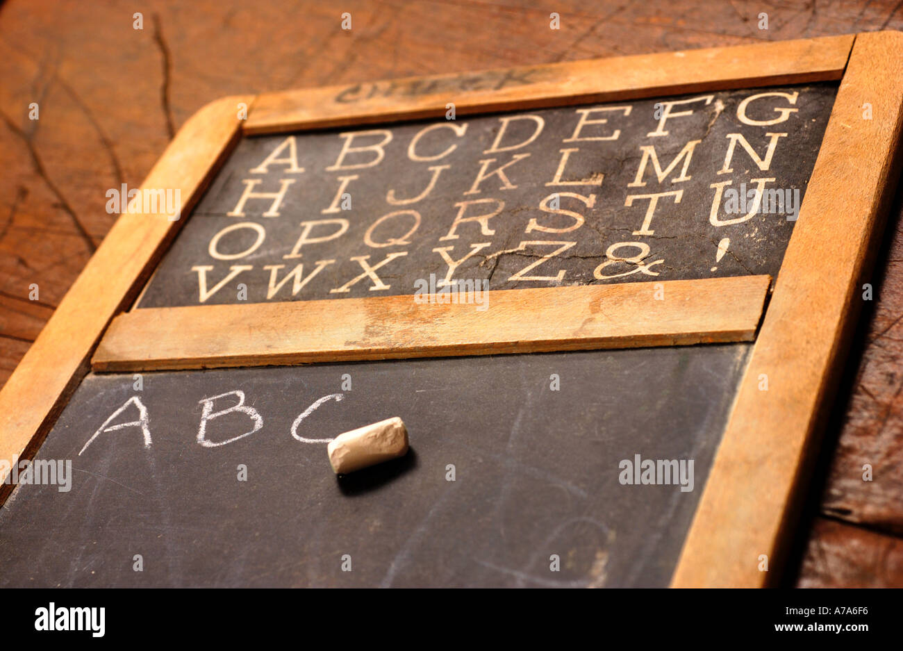 antique school chalkboard with ABC s written on it Stock Photo