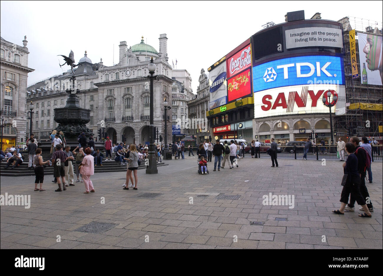 Picadilly circus with branding boards london - Stock Image
