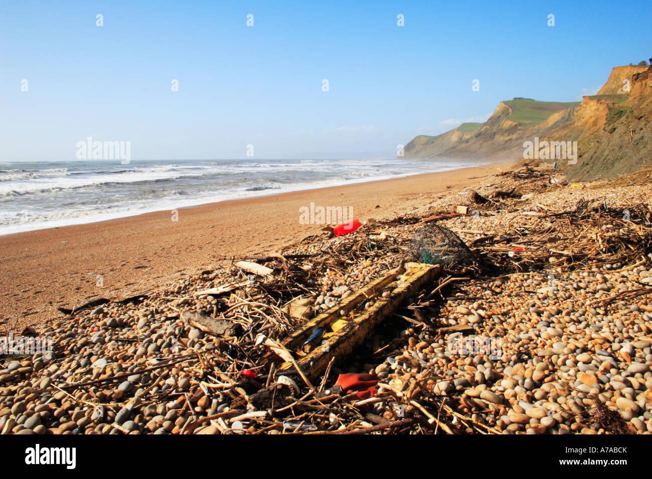 Flotsam and Jetsam on Eype beach, Dorset, England. - Stock Image