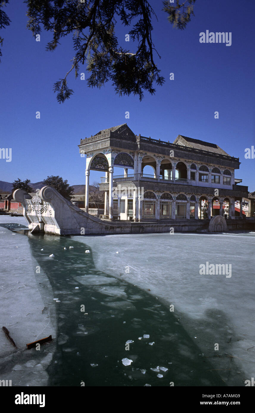 The Dowager Empress Marble Boat- Summer Palace Beijing - Stock Image