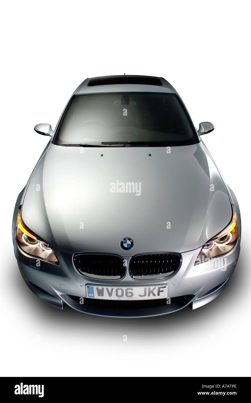 2006 BMW E60 M5 in arctic silver - Front view. - Stock Image