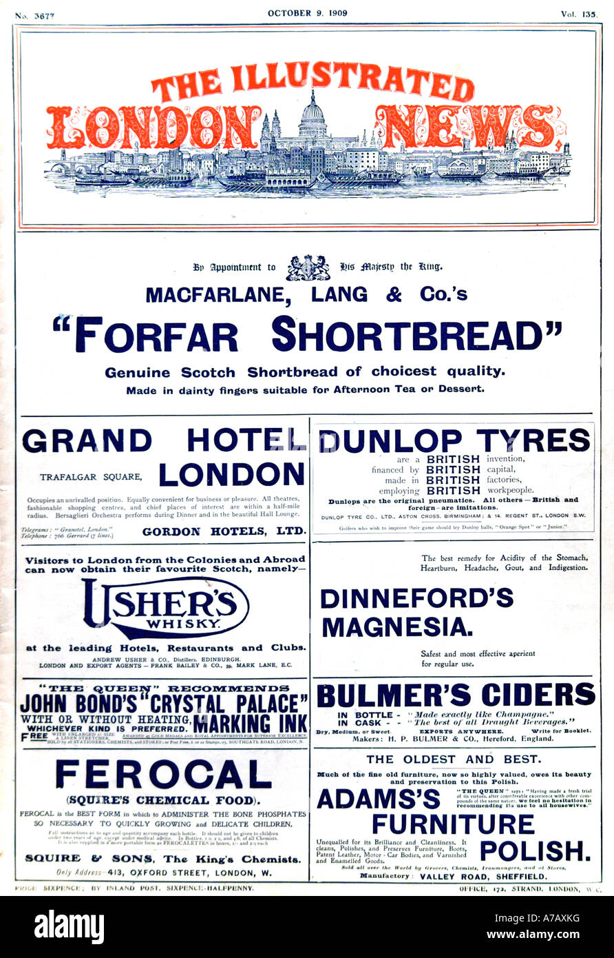 The Illustrated London News October 9th 1909 for Editorial Purposes Only - Stock Image