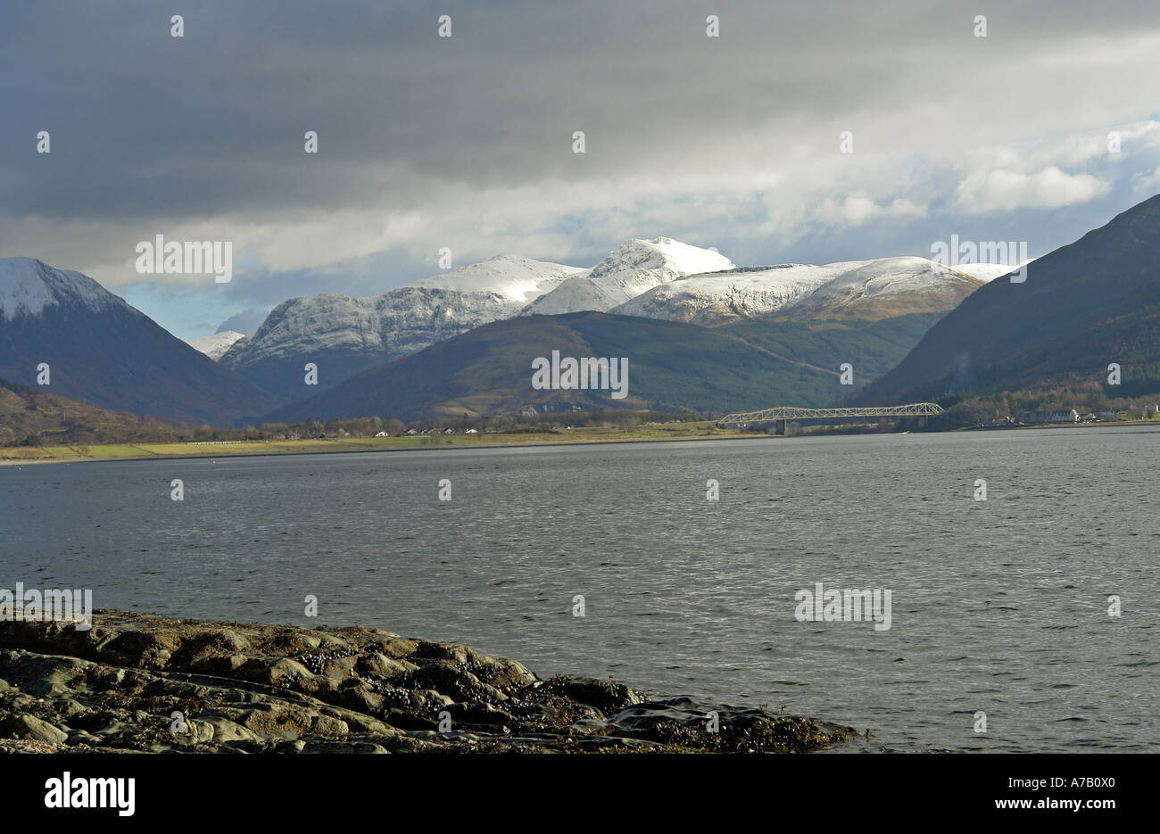 The magnificent Bidean nam Bian in Glen Coe viewed from the shores of Loch Linnhe at Onich - Stock Image