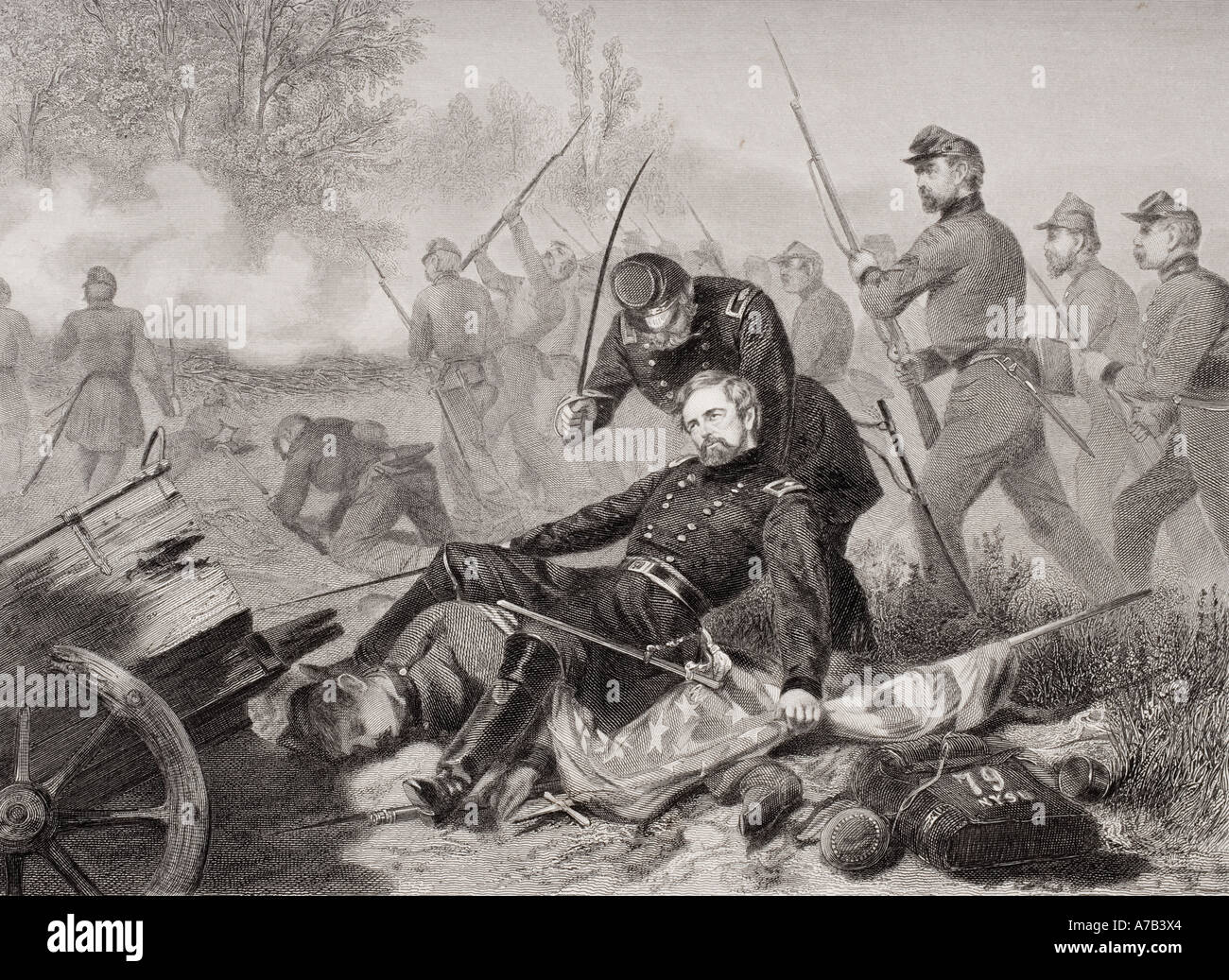 Death of General Isaac Stevens during attack on Chantilly Virginia 1862 From painting by Alonzo Chappel - Stock Image