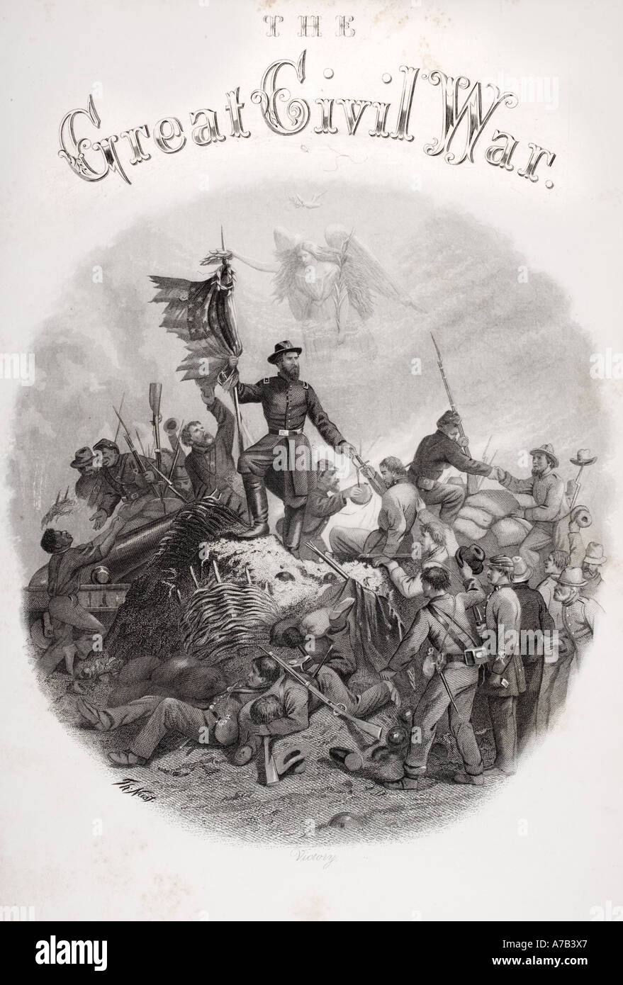Allegorical engraving of Victory in American Civil War - Stock Image