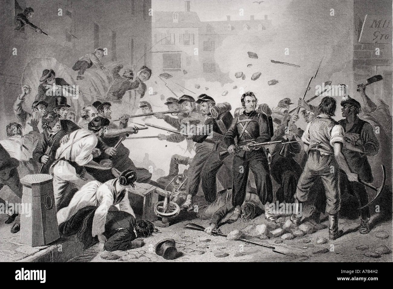Massachusetts militia passing through Baltimore Pennsylvania 1861 Artist F O C Darley - Stock Image