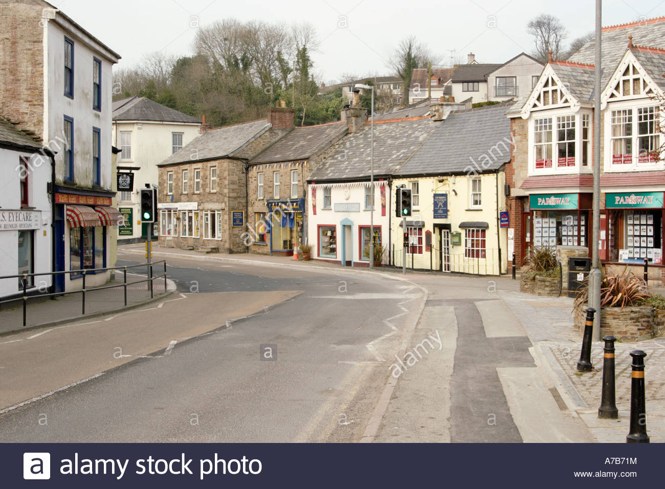 Camelford High Street, Cornwall - Stock Image