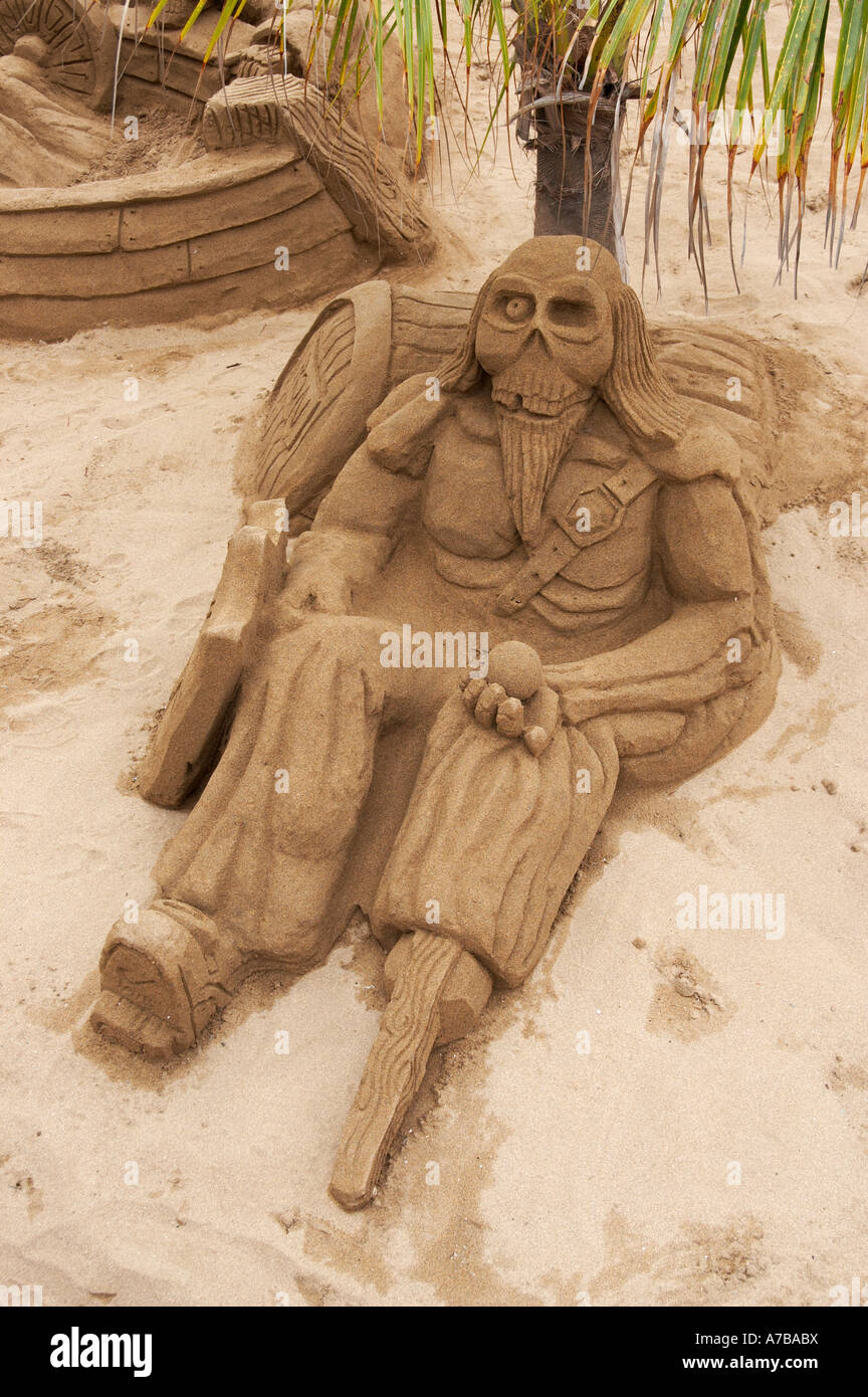 Pirate sand sculpture - Stock Image