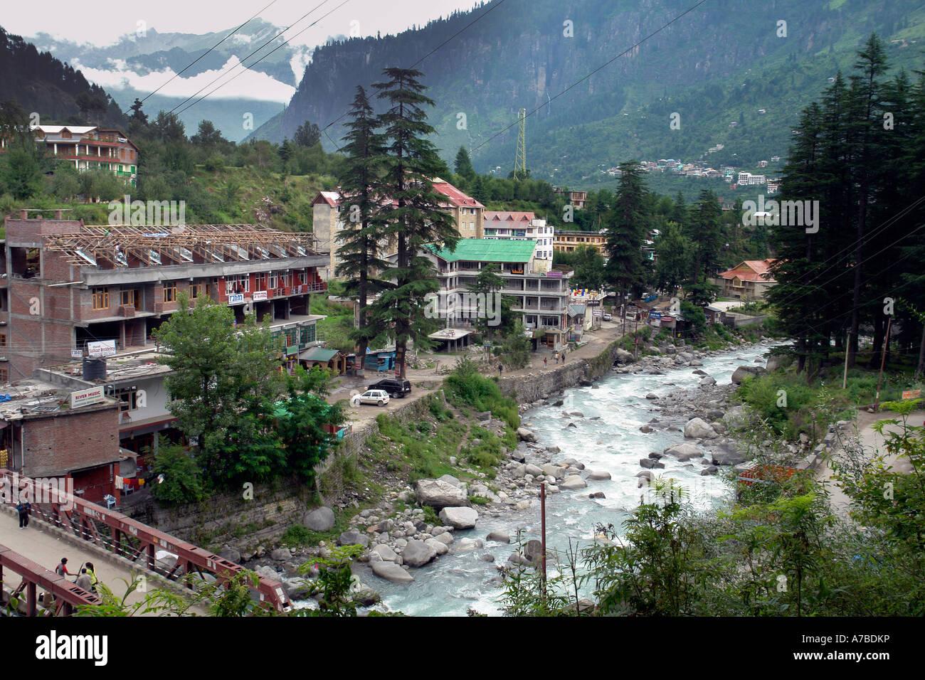 manali town - Stock Image