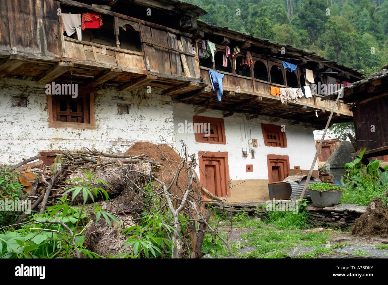 village house - old manali - Stock Image