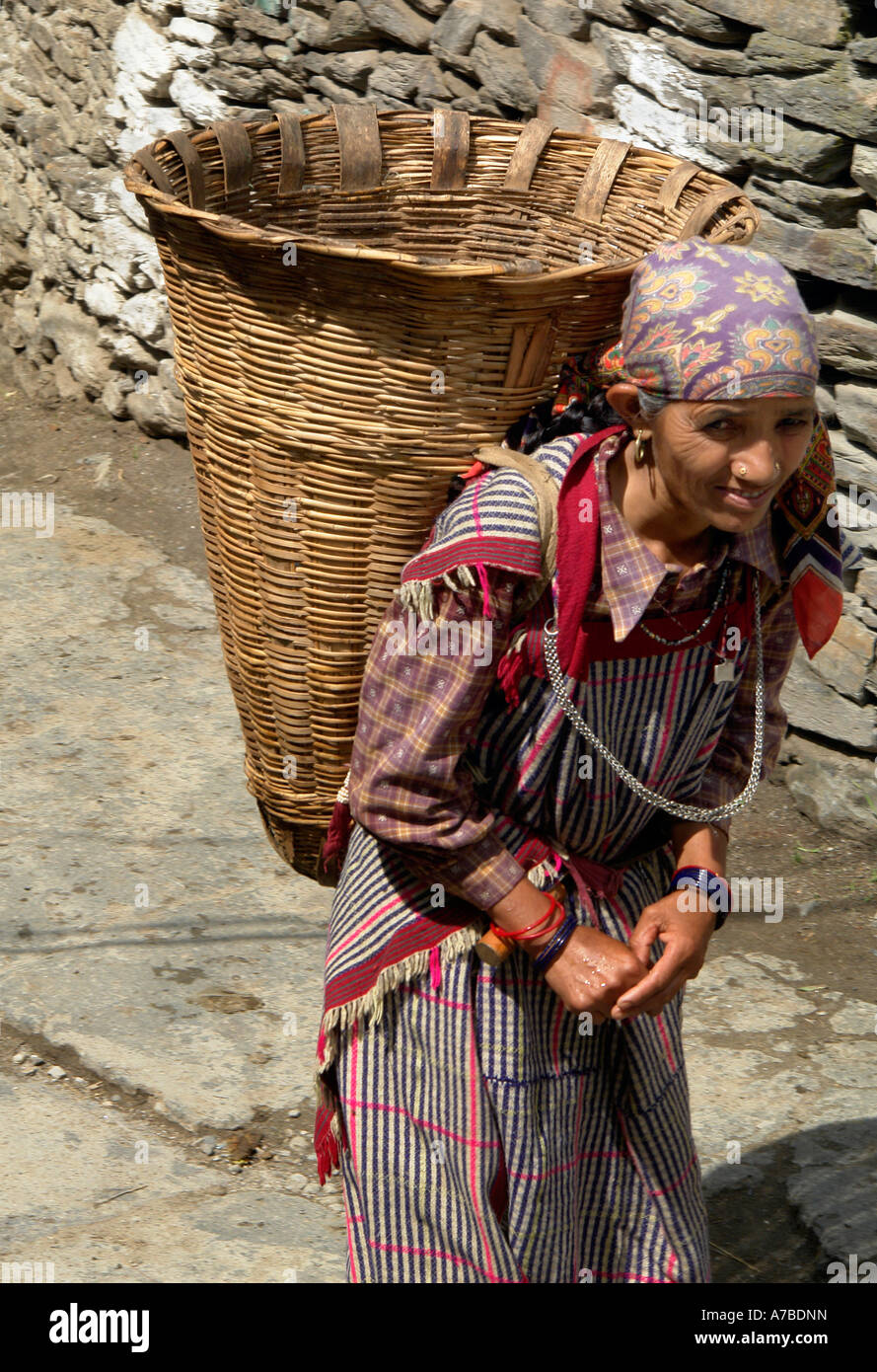 old woman - manali - Stock Image
