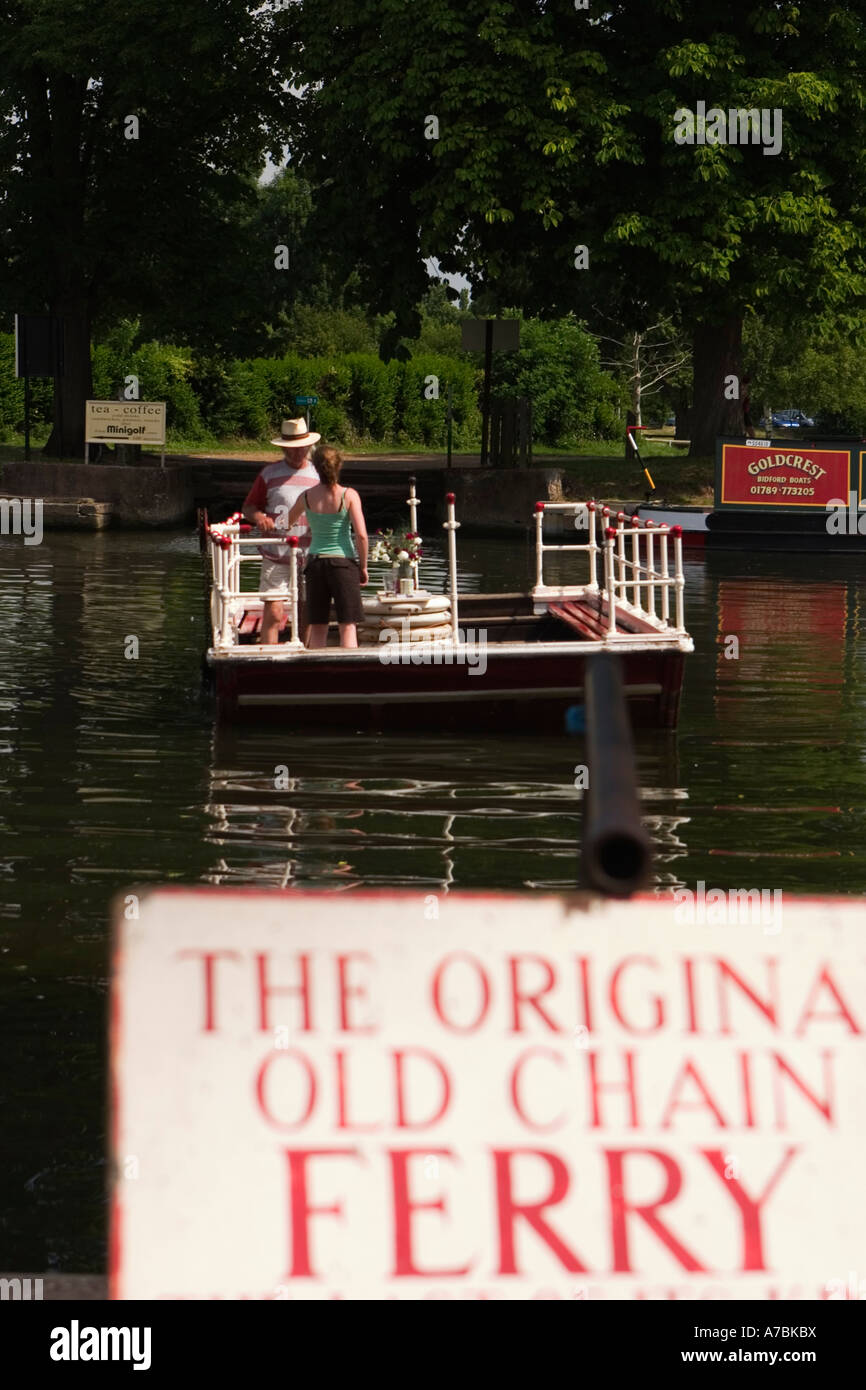 Chain ferry across the River Avon Stratford upon Avon UK June 2005 - Stock Image