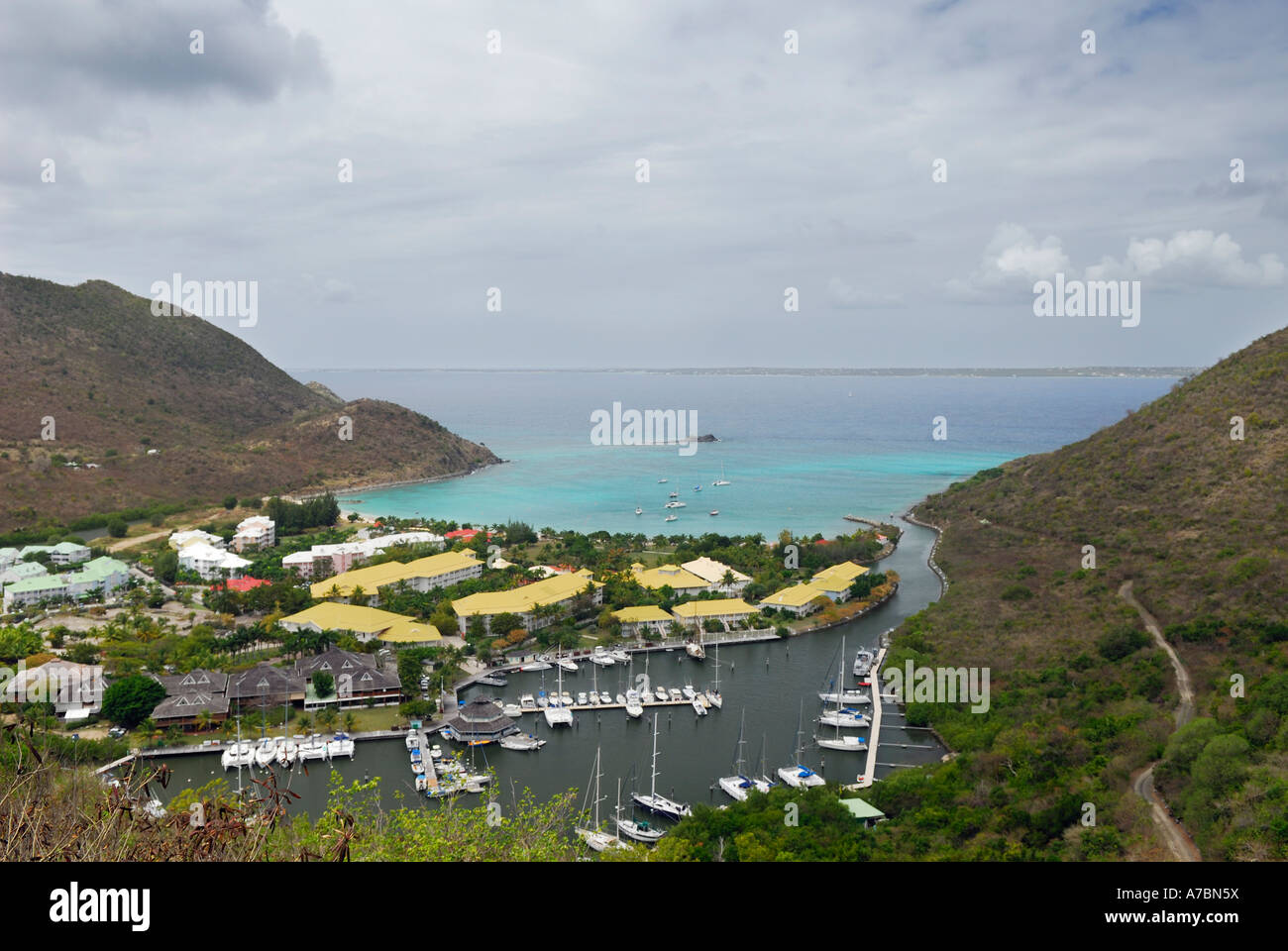 Anse Marcel and Baie des Froussards marina St Martin French Side West Indies - Stock Image