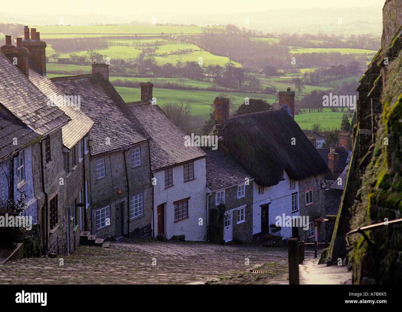 Gold Hill Shaftsbury Dorset cobbled steep hill with stone and brick cottages England - Stock Image