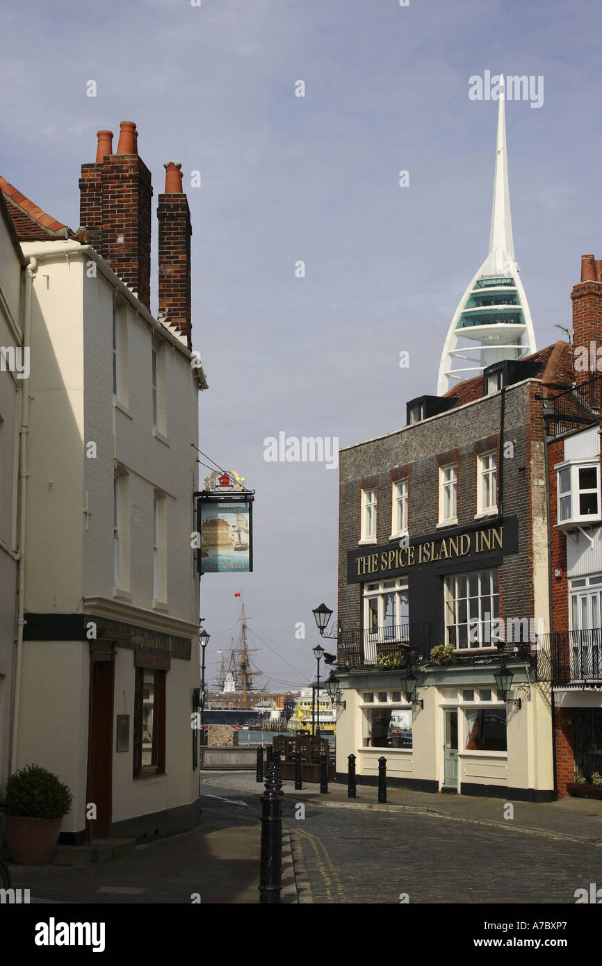 Public Houses overlooking Portsmouth Harbour - Stock Image