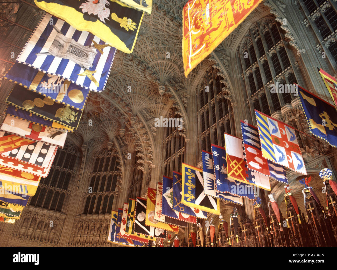 London Westminster Abbey Henry Vii Lady Chapel &  heraldic banners of the knights of the Order of Bath - Stock Image