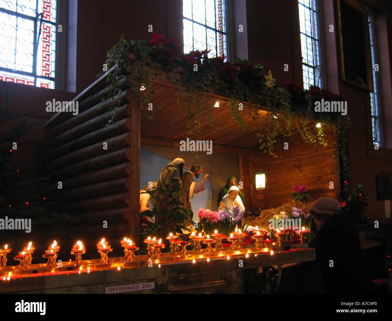 Nativity crib Irish church - Stock Image