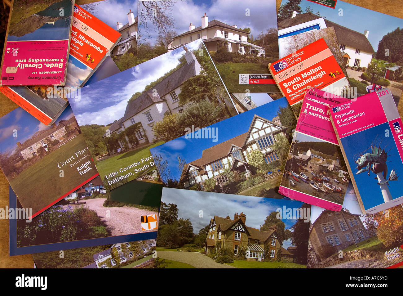 A selection of rural property brochures and maps - Stock Image
