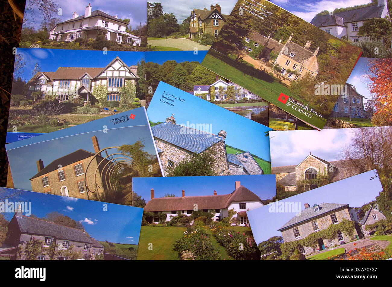 A selection of  property brochures - Stock Image